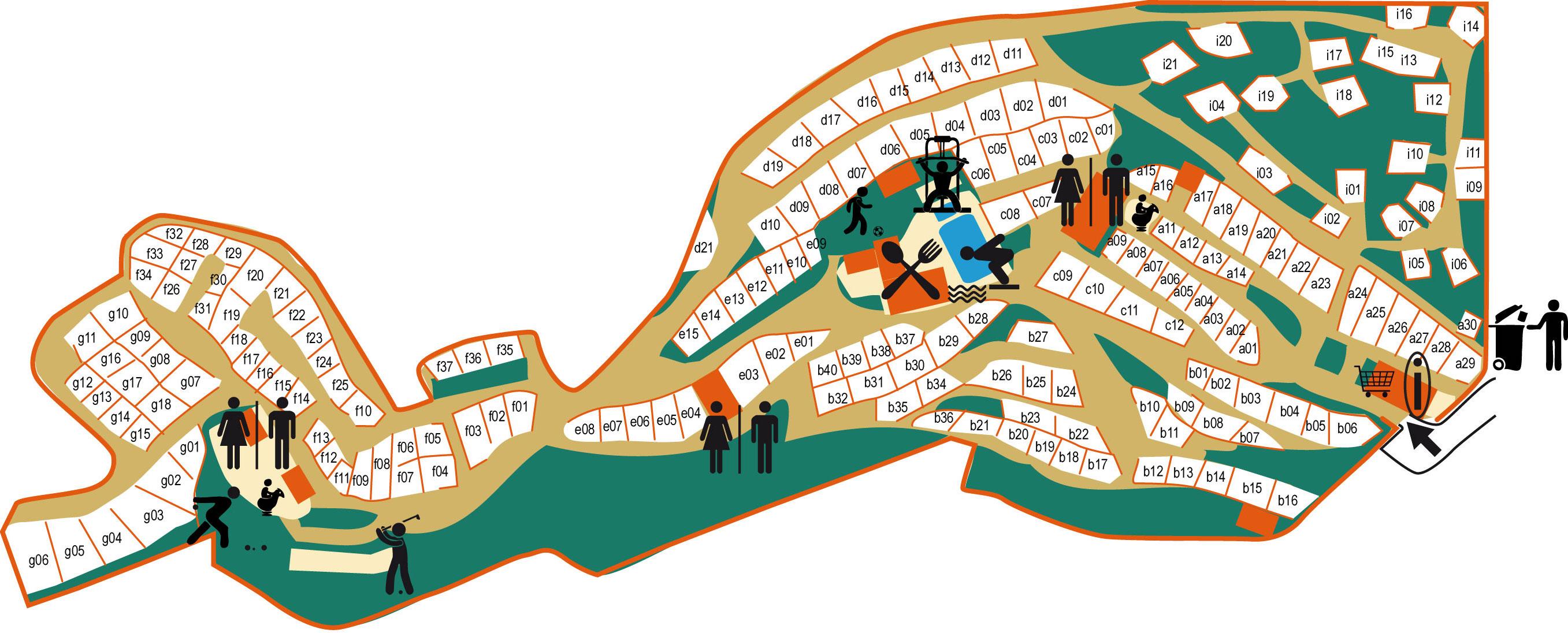 Plan du camping de la Vallée Heureuse